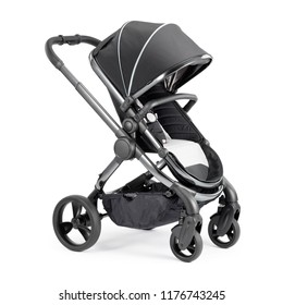 Black Travel System Isolated on White Background. Side View of Baby Transport. Pushchair with Canopy and Swivel Front Wheels. Infant Carriage Seat. Stroller or Pram with Adjustable Showerproof Hood