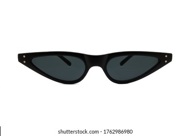 Black triangular cat eye sunglasses with thick frames and black matte lenses isolated on white background. Front View.