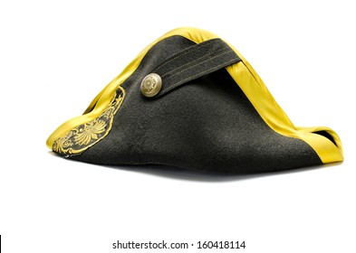 Black tricorn hat (Napoleon hat), isolated over white