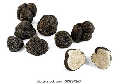 Black truffles isolated on a white background and Truffle cut