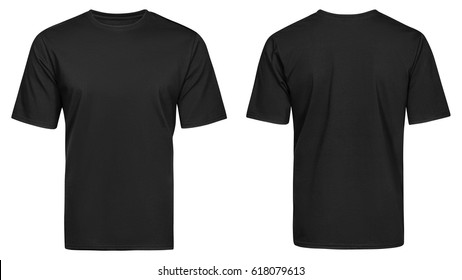 Black t-shirt, clothes on isolated white background