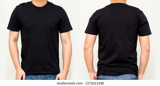 Black T-Shirt front and back, Mock up template for design print