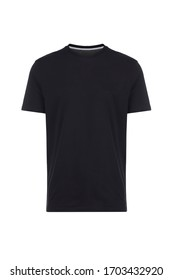 Black t-shirt, front view, isolated on white background