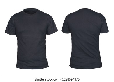 Black t-shirt mock up, front and back view, isolated. Plain black shirt mockup. Short sleeve shirt design template. Blank tees for print