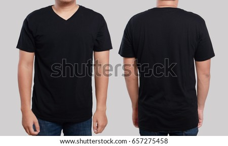 Black Tshirt Mock Up Front Back Stock Photo Edit Now 657275458
