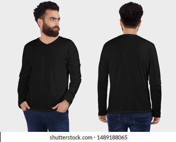 Black t-shirt on a young bearded man in jeans, isolated on a white studio background, front and back view mockup of black t-shirt with place for your logo or design