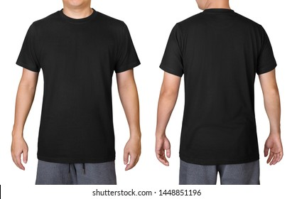Black t-shirt on a young man isolated on white background. Front and back view.
