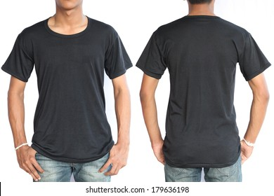 Black t-shirt on a young man template isolated on white background back and front