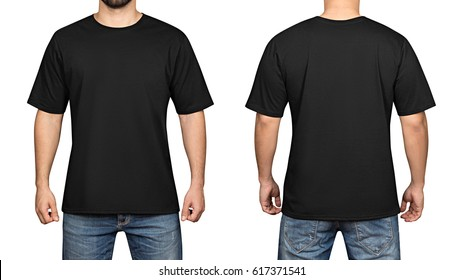 black t-shirt on a young man isolated white background, front and back.