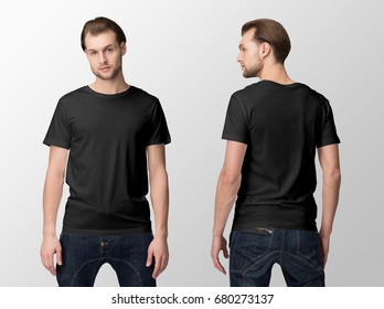 Black t-shirt on a young man in jeans, isolated, front and back, mockup.