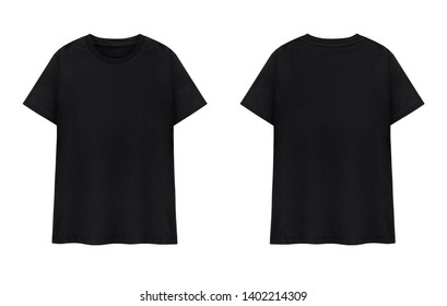 Black T-shirts front and back on white background