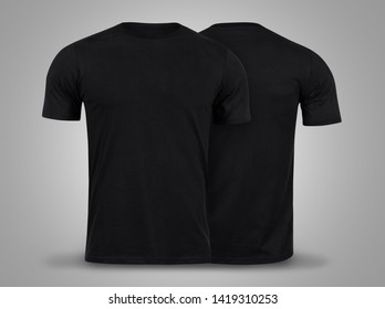 Black T-shirts front and back use for design on grey background.