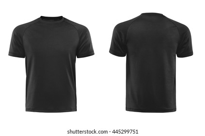 Black T-shirts front and back used as design template isolated on white