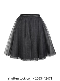 Black tulle ballerina skirt isolated on white
