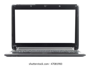 Black ultraportable notebook pc laptop isolated with clipping path over white