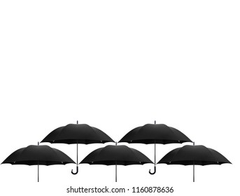 Black umbrella difference on white background, leadership in business concept