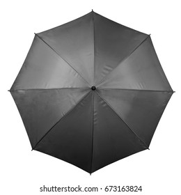 Black umbrella isolated on white background. Top view
