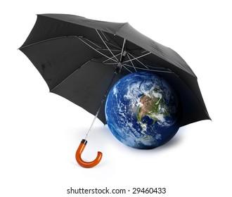 black umbrella over a globe - concept of earth protection