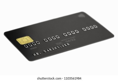 Black universal bank card on white background, cardholder name