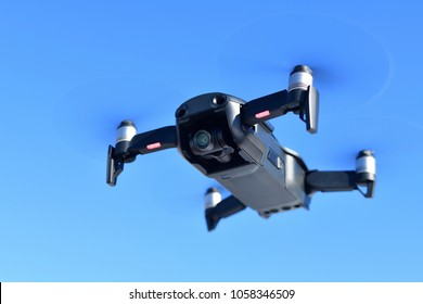 Black unmanned aerial vehicle with a camera