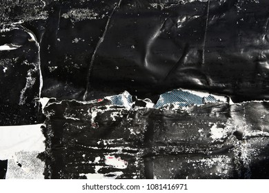 black urban ripped torn weathered grunge paper poster texture banner, use for street appeal background or mixed media art layer