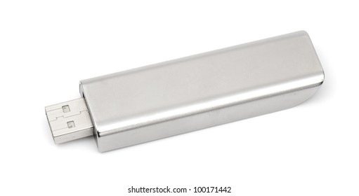 black usb memory isolated on a white background in studio