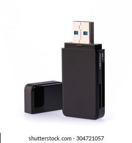 Black USB memory stick isolated on white background