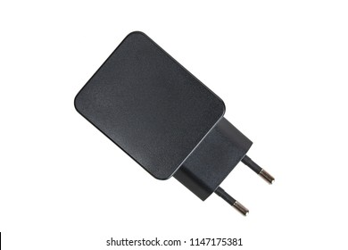 Black usb power adapter isolated