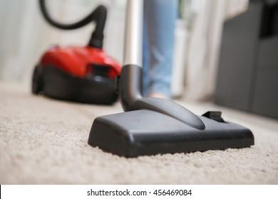 Black vacuum cleaner brush closeup