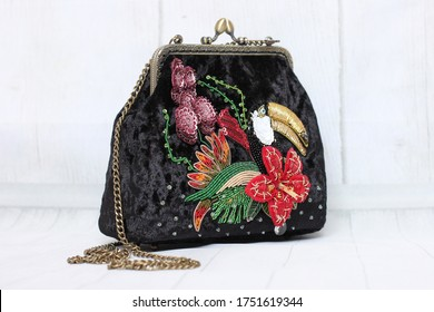 Black velvet bag with volume embroidery, haute couture. Cocktail bag. Embroidered designer handbag. Volumetric embroidery. Luneville embroidery. Embroidered 3D elements. Handmade accessories. Evening