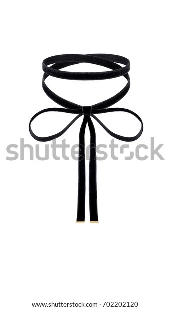 black velvety choker without pendent on the white background