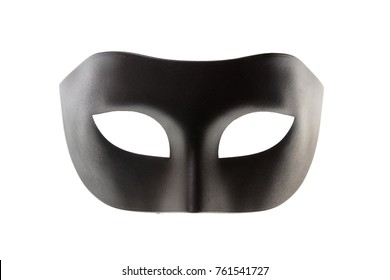 Black Venetian carnival mask isolated on white background, front view