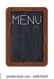"""Black vertical chalkboard with """"menu"""" handwriting including clipping path"""