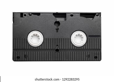Black vhs tape isolated on white. Outdated technology background.