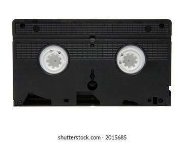 Black VHS video cassette on white