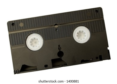 Black video cassette. Isolated, clipping path included.