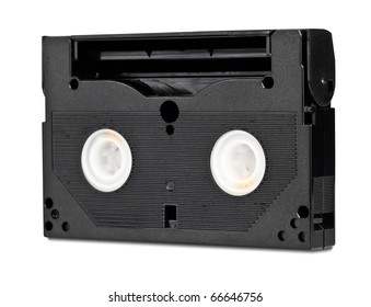 Black video cassette isolated on white with clipping path