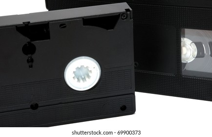 Black video cassette isolated on the white background.