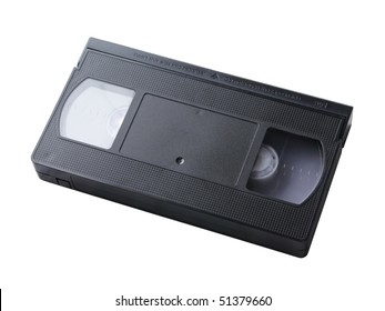 black video cassette without label isolated on white background