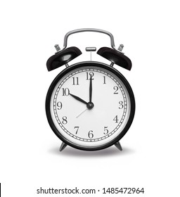 black vintage alarm clock, clipping path