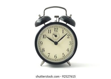 Black Vintage Alarm Clock on white background