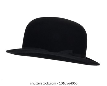Black vintage bowler, hat isolated on white background.  Side view. Tilted up a little.
