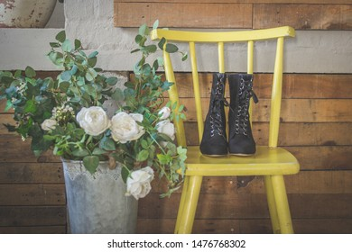 Black vintage corset suede boots n yellow chair creative wedding shoes photo steam punk style witch boots