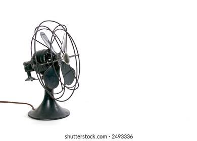 black vintage fan on-white
