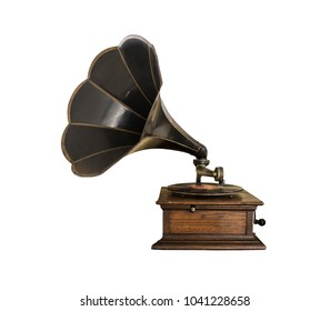 black vintage gramophone on white background isolated