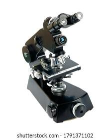 black vintage microscope isolated on white background