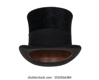 Black vintage top hat, isolated on white background.  Straight front view. Tilted up a little, showing the interior leather band.