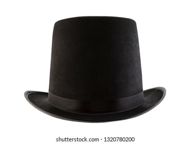 Black vintage top hat isolated on white