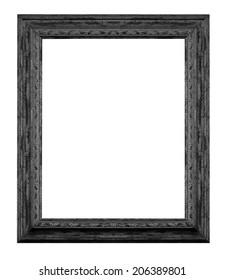Black  vintage wooden frame isolated white background.