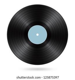 black vinyl disc with cyan blank label